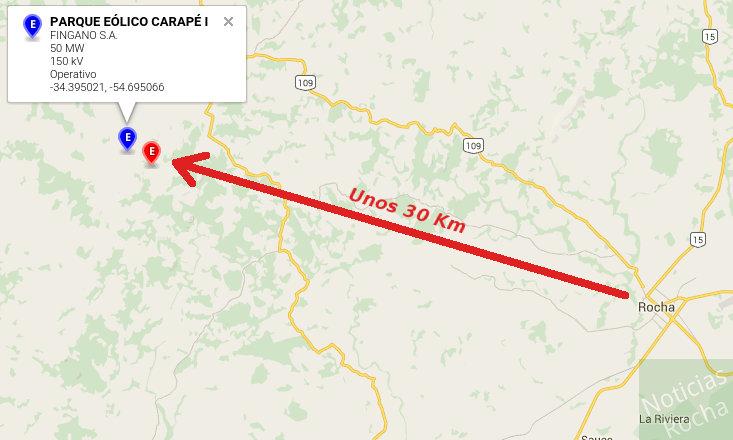 mapa distancia al parque eolico carape desde rocha