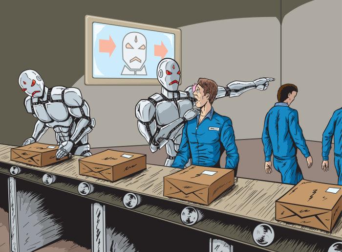 robots trabajo de humanos