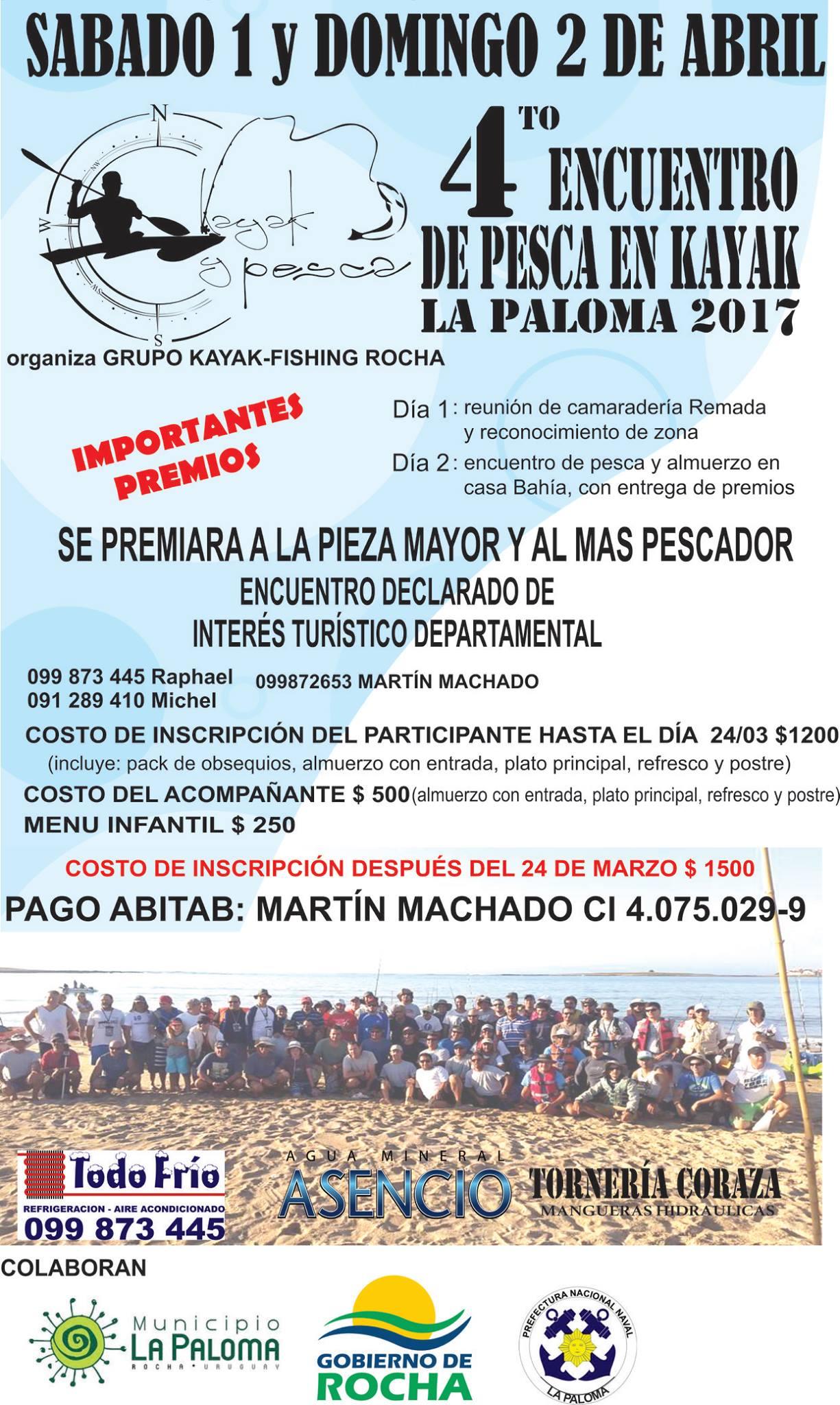 encuentro 2017 de pesca en kayak en La Paloma